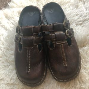 Dr Doc Martens Women's Brown Leather Slip On Clogs
